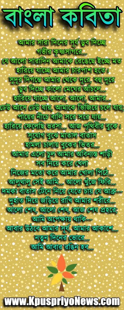 Bengali Poem - amar sara diner surjo