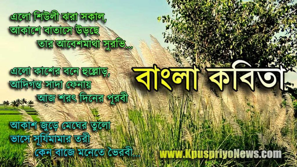 Bengali Poem - elo shuili jhora sokal