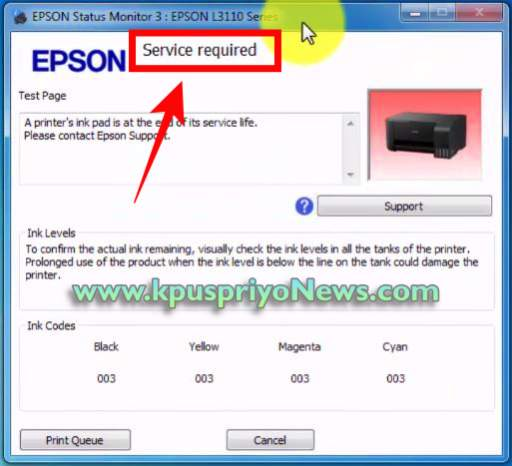 EPSON L3150 L3160 Resetter - Service Required