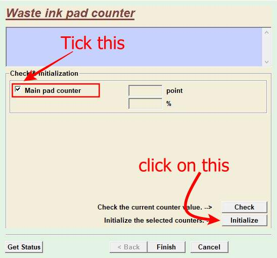 Tick on Main pad counter & click on Initialize button