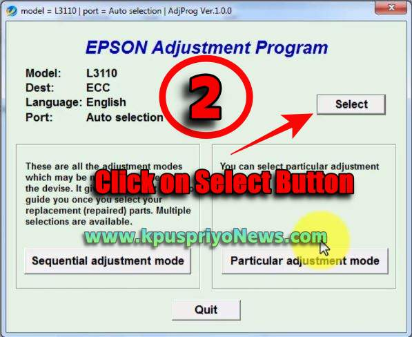 Epson L3110 Resetter - Step two