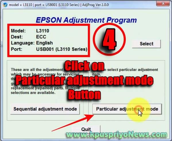 Epson L3110 Resetter - Step four
